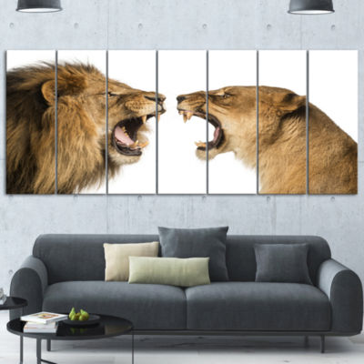 Designart Lion and Lioness Roaring Abstract Wrapped Canvas Art Print - 5 Panels