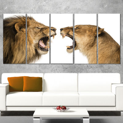 Designart Lion and Lioness Roaring Abstract CanvasArt Print- 5 Panels