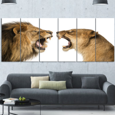 Lion and Lioness Roaring Abstract Canvas Art Print6 Panels