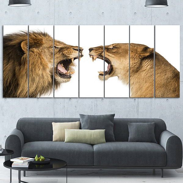 Designart Lion and Lioness Roaring Abstract CanvasArt Print7 Panels