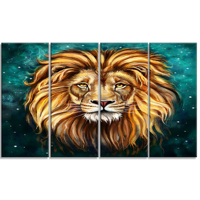 Designart Lion Head in Blue Animal Art on Canvas -4 Panels