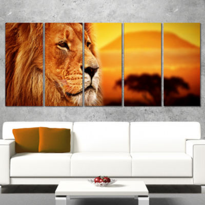 Designart Lion Portrait on Savanna Animal Photography CanvasArt Print - 5 Panels