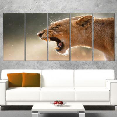 Designart Lion Showing Dangerous Teeth African Canvas Art Print - 4 Panels
