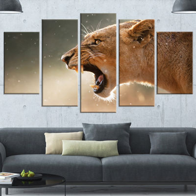 Designart Lion Showing Dangerous Teeth African Wrapped Canvas Art Print - 5 Panels