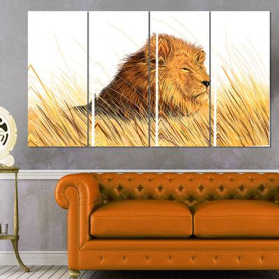 Designart Lion Watching The Surroundings Animal Art Canvas Print - 4 Panels