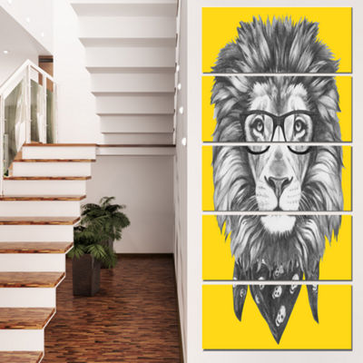 Designart Lion With Glasses and Scarf Animal Canvas Art Print - 5 Panels