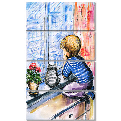 Designart Little Boy and Cat Watching City ModernPortrait Canvas Art - 4 Panels