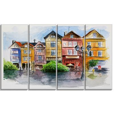 Designart Little City in Watercolor Landscape ArtPrint Canvas - 4 Panels