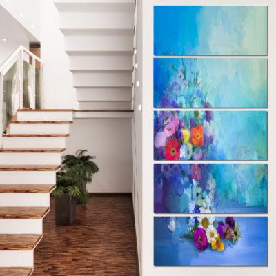 Designart Little Flowers on Blue Background LargeFloral Canvas Artwork - 5 Panels