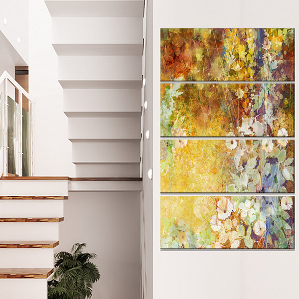 Designart Little Flowers With Soft Green Leaves Floral Canvas Art Print - 4 Panels