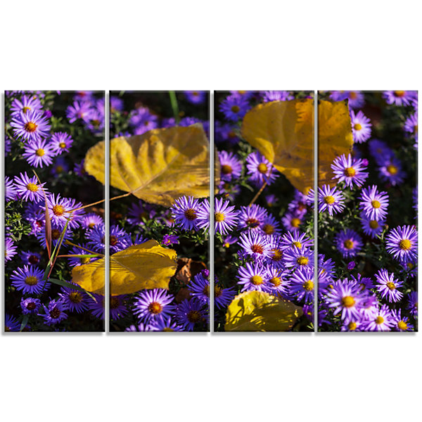 Little Purple Flowers and Yellow Leaves Floral Canvas Art Print - 4 Panels