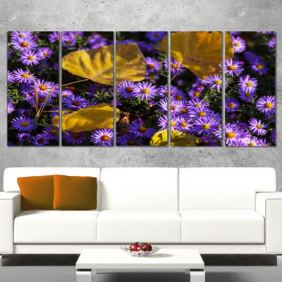 Designart Little Purple Flowers and Yellow LeavesFloral Wrapped Canvas Art Print - 5 Panels
