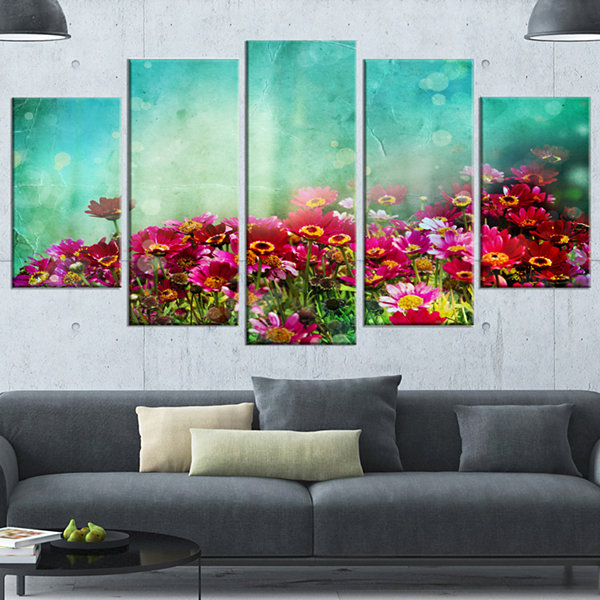 Designart Little Red and Pink Flowers on Blue Floral CanvasArt Print - 4 Panels