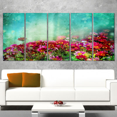 Designart Little Red and Pink Flowers on Blue Floral CanvasArt Print - 5 Panels