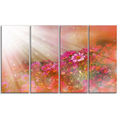 Designart Little Red and Pink Flowers Spring LargeFloral Canvas Artwork - 4 Panels