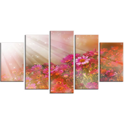 Designart Little Red and Pink Flowers Spring LargeFloral Wrapped Canvas Artwork - 5 Panels