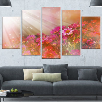 Little Red and Pink Flowers Spring Large Floral Canvas Artwork - 5 Panels