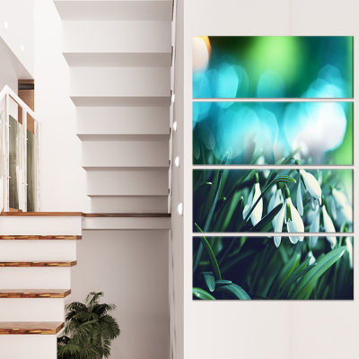 Designart Little White Flowers on Green LandscapeWall Art on Canvas - 4 Panels
