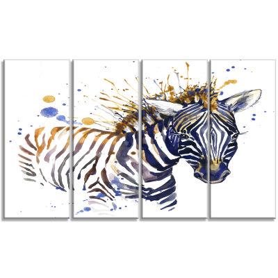 Designart Little Zebra Illustration Art Animal Arton Canvas- 4 Panels