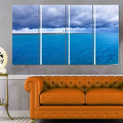 Designart Livorno Port Lighthouse Seascape CanvasArt Print- 4 Panels