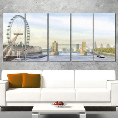 Designart London Bridge Cityscape Photography Canvas Art Print - 5 Panels