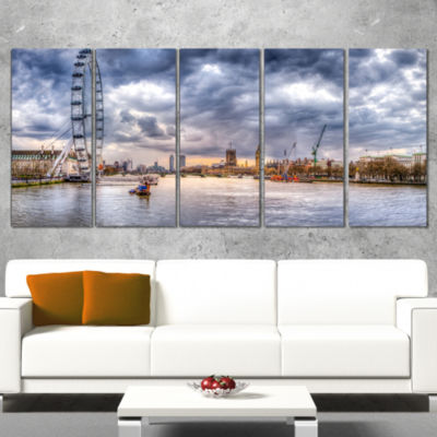 Designart London Skyline and River Thames Cityscape Canvas Print - 4 Panels