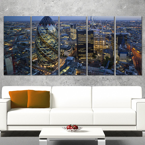 Designart London Skyline At Sunset Cityscape Canvas Print -4 Panels