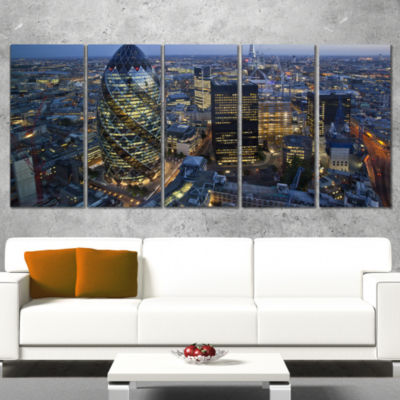 Designart London Skyline At Sunset Large CityscapeCanvas Print - 5 Panels