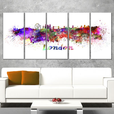 Designart London Skyline Cityscape Canvas ArtworkPrint - 5Panels