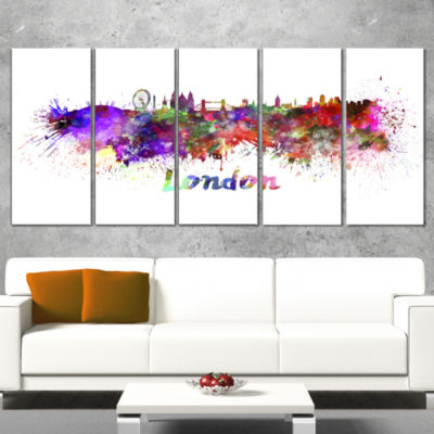 Designart London Skyline Large Cityscape Canvas Artwork Print - 5 Panels
