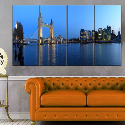 Designart London Tower Bridge in Blue Cityscape Photo CanvasPrint - 4 Panels
