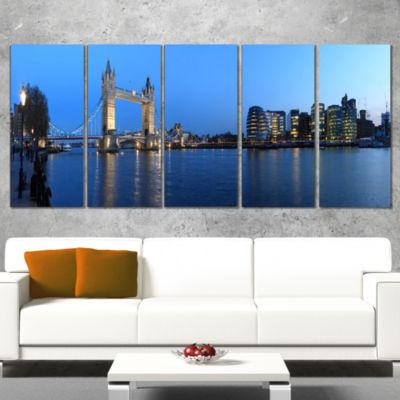 Designart London Tower Bridge in Blue Cityscape Photo CanvasPrint - 5 Panels