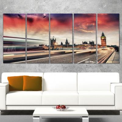 Designart London Westminster Bridge Cityscape Photo Canvas Print - 5 Panels