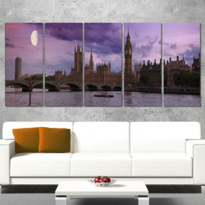 Designart London With Purple Sky At Sunset Cityscape Photo Canvas Print - 5 Panels