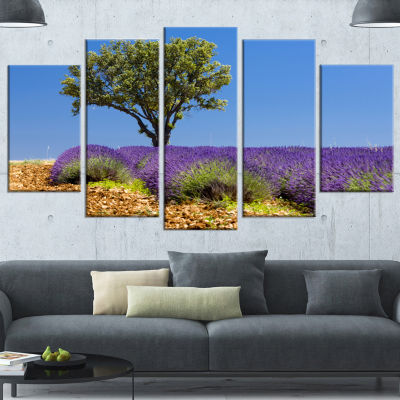 Designart Lone Green Tree in Lavender Field LargeLandscapeWrapped Canvas Art - 5 Panels