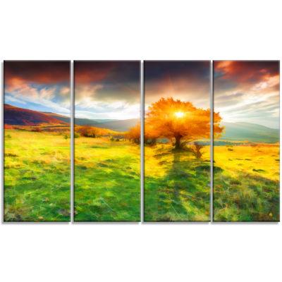 Designart Lonely Autumn Tree Landscape Art Print Canvas - 4Panels