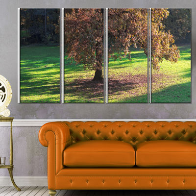 Lonely Beautiful Autumn Tree Landscape Canvas ArtPrint - 4 Panels