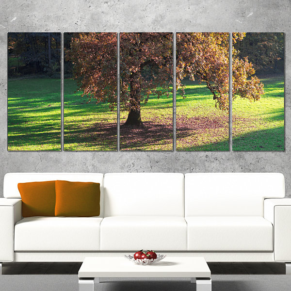 Designart Lonely Beautiful Autumn Tree Landscape Wrapped Canvas Art Print - 5 Panels