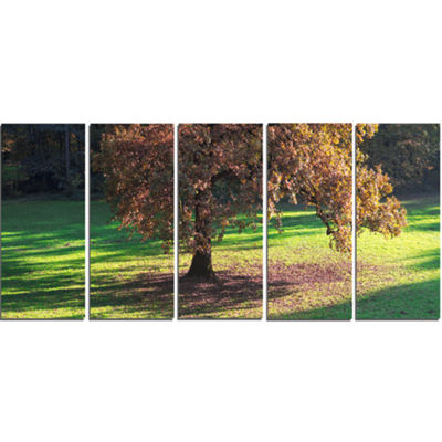 Designart Lonely Beautiful Autumn Tree Landscape Canvas ArtPrint - 5 Panels