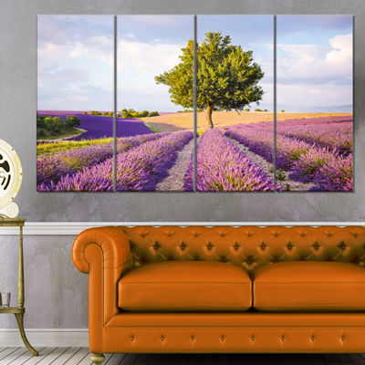 Designart Lonely Green Tree in Lavender Field Extra Large Landscape Canvas Art - 4 Panels