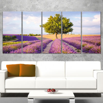 Designart Lonely Green Tree in Lavender Field Extra Large Landscape Wrapped Canvas Art - 5 Panels