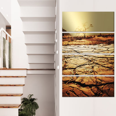 Lonely Tree in Drought Land African Landscape Canvas Art Print - 4 Panels