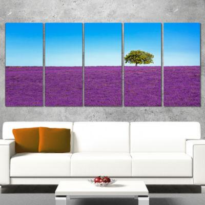 Designart Lonely Tree in Lavender Field OversizedLandscapeWrapped Wall Art Print - 5 Panels