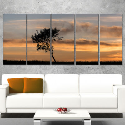Lonely Tree Silhouette Leftwards Landscape CanvasArt Print - 5 Panels