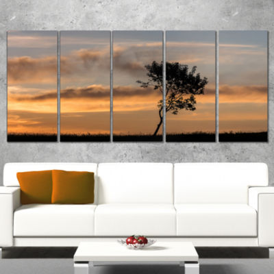 Lonely Tree Silhouette Rightwards Landscape CanvasArt Print - 4 Panels