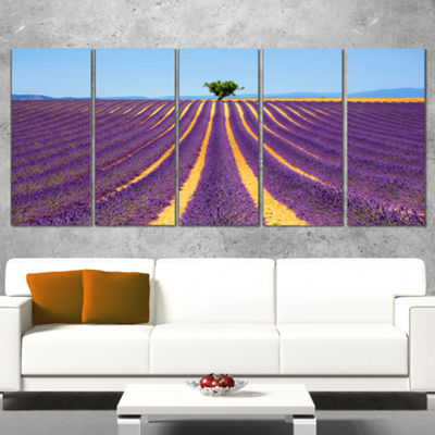 Designart Lonely Uphill Tree in Lavender Field Oversized Landscape Wall Art Print - 5 Panels