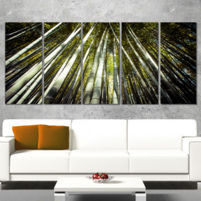 Designart Long Bamboos in Bamboo Forest Forest Canvas Wall Art Print - 5 Panels