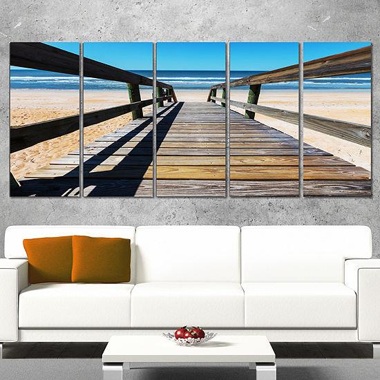 Designart Long Boardwalk Into Blue Seashore Seashore Canvasart Print 5 Panels