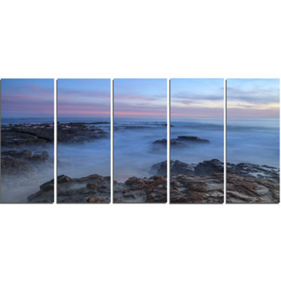 Designart Long Exposure At Sunset Over Rocks Modern Beach Canvas Art Print - 5 Panels