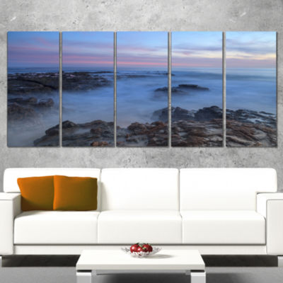Long Exposure At Sunset Over Rocks Modern Beach Canvas Art Print - 5 Panels